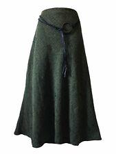 Women's UK 20 Flared Skirt Green Black Flecked Boho Faux Leather Belt Country