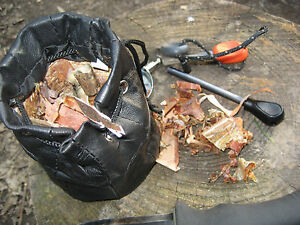 Bushcraft Foraging Tinder Pouch Leather Drawstring Bag