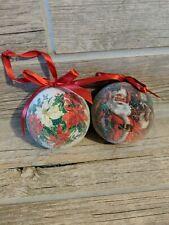 "Vintage Country Santa 2 Christmas Ornament White / Red 3"" Ball ""Sugar"" Flocked"