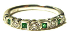 EMERALD RUBY OR SAPPHIRE DIAMOND 14K WHITE GOLD DESIGNER STACKABLE RING BAND