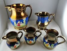 5 Antique Copper Lusterware Lustre Pitchers Assorted Sizes & Patterns
