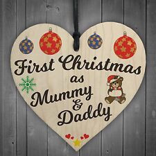 First Christmas Mummy Daddy Wooden Hanging Heart Plaque Xmas Tree Decoration
