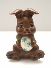 Vintage Hand Painted Ceramic Brown Easter Rabbit Bunny Figurine With Egg Spring