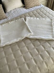 PAIR OF SQUARE OFF WHITE IKEA CUSHION COVERS 18x18 INCHES