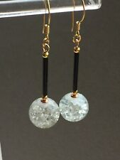 crackle glass 14ct gold filled earrings Art Deco vintage style clear & black