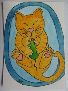 ACEO Original Watercolor Cat Kitty Heart I Love My Catnip Mouse No 305 by KEK