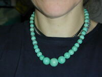 "Vintage Amazonite & Glass Bead  Graduated Necklace 17"" 6.5mm-15.4mm Diameter"