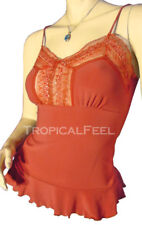 New Rust Orange Sleeveless Spaghetti Strap Top Blouse Sheer Lace Peplum Tops S