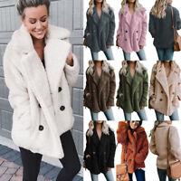 Womens Winter Fluffy Fleece Pockets Jacket Coat Teddy Bear Warm Thick Overcoat