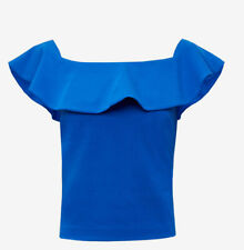 Ted Baker Blue Frill Detail Bardot Top Size M/12-size 3