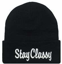NEW STAY CLASSY 3D EMBROIDERY BEANIE SKULL CAP HIP HOP HAT BLACK/WHITE