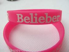 Unisex Pink I Love Justin Bieber, Belieber Silicone Rubber Wrist Band UK Seller