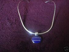 .925 Made in Mexico SS Neckring with Lapis Pendant