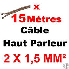 Câble Haut Parleur 2 x 1,5 mm² long 15 Métres