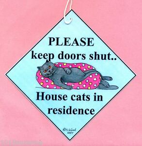 British Blue cat painting art sign Keep Door Shut laminated sign Suzanne Le Good