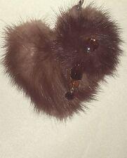 #A22 Phone Handbag Charm Real Mink Fur Heart Shaped Keychain Clip