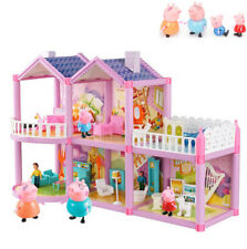 Playhouse Pig Family Castle House Children Slide Play Figures Kids Gift Toy Car