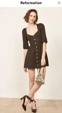 Reformation Alessia Black Button Front Mini Dress Size 4