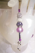 Purple & White Flowers Murano & Rhinestone and Pearl Beaded Lanyard / ID Badge