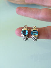 DESIGNER 14K SOLID GOLD QUILTED STERLING SILVER & BLUE TOPAZ EARRINGS PIERCED