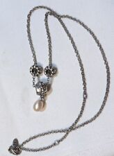 """36"""" Pandora 925 Sterling Necklace w/Charms & Teardrop Pearl"""