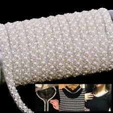 10x Yard Pearl Applique Beaded Sewing Chain Bag Crafts Costume Clothing DIY Trim