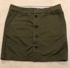 NWT TOMMY HILFIGER Size 6 Khaki Green Button Front Skirt Cotton  $42 gwf