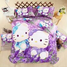 Purple Lavender Hello Kitty Kids Bedding Duvet Cover Bed Sheet twin full queen