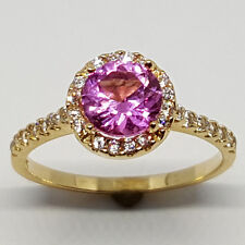14K solid yellow gold gorgeous faceted Rose Quartz white Topaz wedding ring