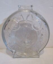 VINTAGE DISNEY ANCHOR HOCKING MICKEY & MINNIE MOUSE CLEAR GLASS COIN SHAPED BANK