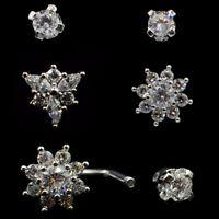 2Pcs Steel Zircon Ear Helix Cartilage Piercing Lip Ring Earring Body Jewelry 18g