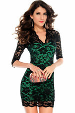 V-Neck Lace Mini Dresses for Women