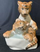 Antique 1946 Herend Hungary Porcelain Ceramic Tiger Figural Figurine