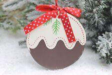 Gisela Graham Navidad Madera plana Navidad puddingwith ACEBO DECORACIÓN 9cm