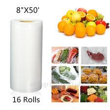 "16PCS 8"" x 50' 4Mil Commercial Vacuum Sealer Bags Food Saver Storage Bag Rolls"