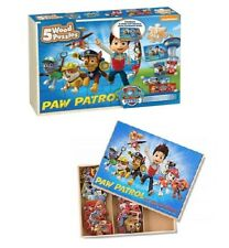 Paw Patrol 5 Wood Puzzles Storage Box Tray Kid Educational Learn Jigsaw Puzzle