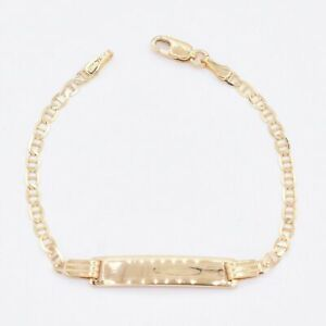 """2.5mm Mariner Chain ID Baby Kids Bracelet Real 10K ALL Yellow Gold 5.5"""""""
