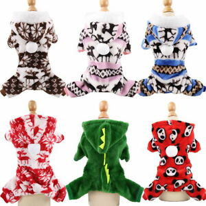 Xmas Winter Cute Puppy Dog Pajamas Jumpsuit Pet Clothes Cat Coat Costume XS -XXL