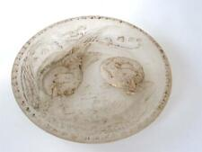 Antique Victorian Satin Glass Easter Plate Hatching Chicks Eggs Gold Paint