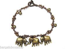 Girls Elephant Charm Bell Bead Ankle Bracelet Foot Anklet Hippy Boho Handmade