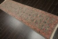 """2'6"""" x 9'10"""" Hand Knotted Wool Rare Romanian Kashaan Area Rug Mint Runner"""