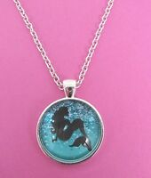 Mermaid in The Sea Silhouette Silver Pendant Glass Necklace New in Gift Bag