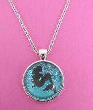 SIRENA nel mare Silhouette Collana con ciondolo d'argento in vetro NUOVO nella borsa regalo