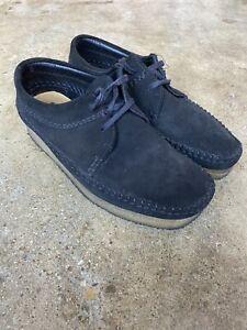 Classic Clarks Wallabee Weaver Shoe Black (Charcoal) Suede Men 7 1/2