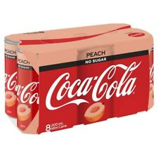 Coca-Cola Peach Flavour No Sugar Coke Multipack Mini Can 8 pack