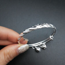 Kids Jewelry Silver Plated Meteor Embossing Bells Charms Bangle for Baby Toddler