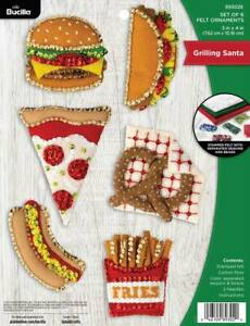 DIY Bucilla Grilling Santa Fast Food Christmas Holiday Felt Ornament Kit 89302E