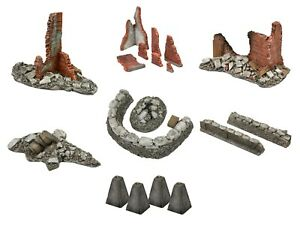 VSTank 1/24 Diorama Accessories Ruined Building Walls Sand Bag Wall Stone Mortar