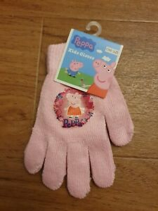 Peppa Pig One Size Pink Gloves Approx 3 - 7 Yrs
