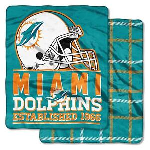 """NFL Double Sided Plush Cloud Throw 60""""x70"""" Super Silky Soft MIAMI DOLPHINS NEW"""